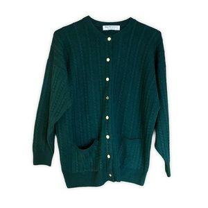 VINTAGE BURBERRY 100% Wool Green Gold Cardigan 42